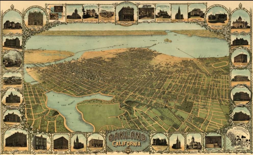Oakland City California Vintage map Wall