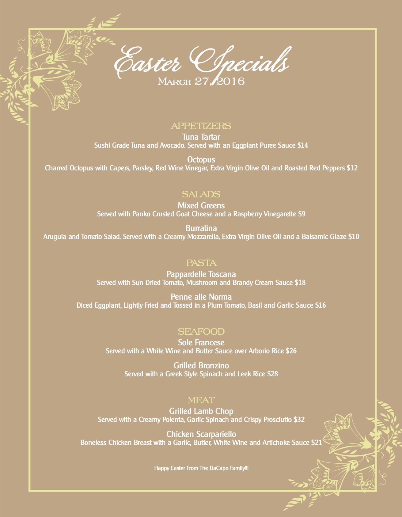 Dacapo Litchfield Easter Menu