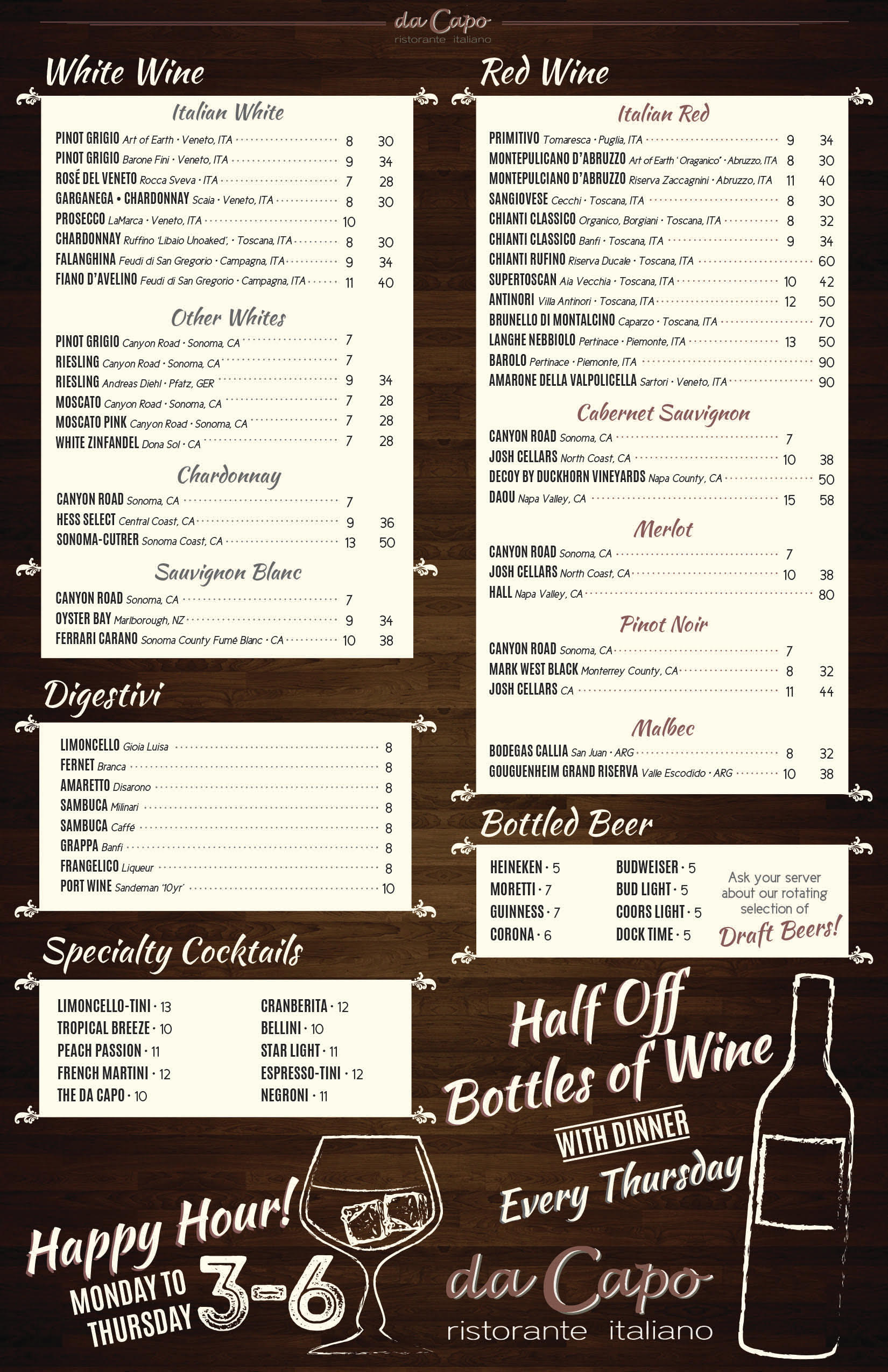 Dacapo Wine Menu Fall 2016
