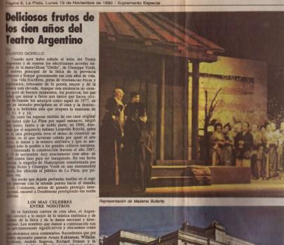 Deliciosos frutos de los cien años del Teatro Argentino (19/11/1990 El Día).