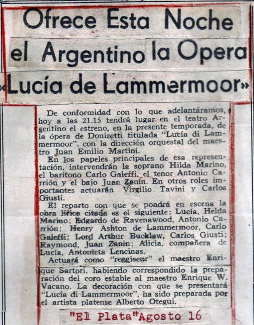 1949 opera lucia de lammermoor recorte