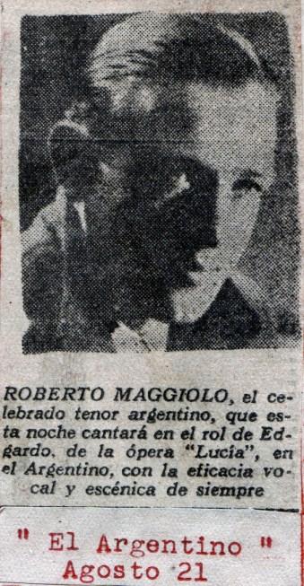 1949 recorte opera lucia de lammermoor roberto maggiolo