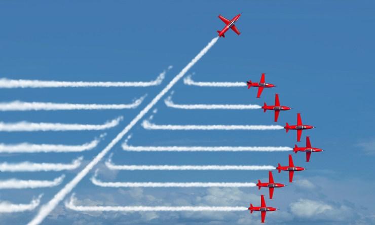 digital marketing strategy airplane breaking formation