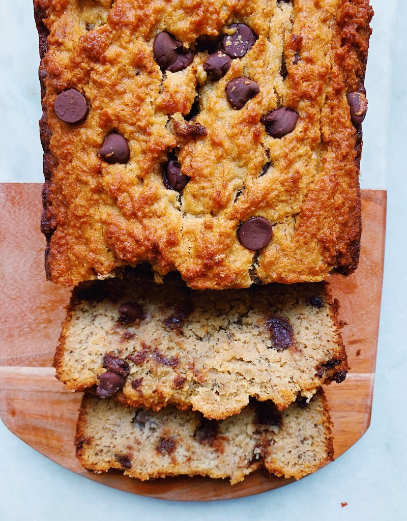 Chocolate Chip Banana Loaf Cake (Gluten-Free, Dairy-Free, Refined Sugar-Free)