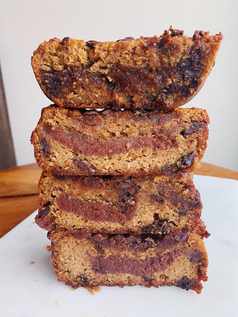 date caramel stuffed cookie bars vegan and gluten-free