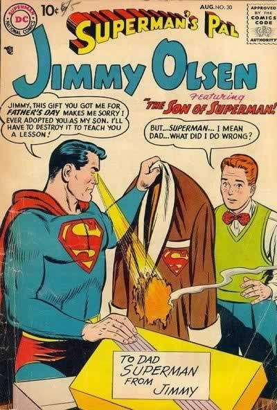 parenting, Superman, Man of Steel, Jimmy Olsen, movies, toddlers, dads, fathers, happy Father's Day, family, home, shopping, parenthood, holiday