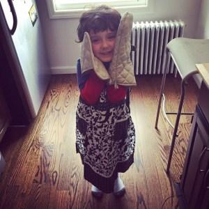 After baseball, he helped Mommy make brownies, because RENAISSANCE MAN! #WhosTheBoss