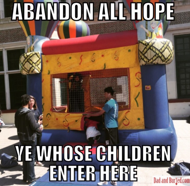 parenting, fun, danger, dad and buried, motherhood, helicopter parent, bouncy house, amusement park, funny, humor, dad blogs, wordless wednesday, meme