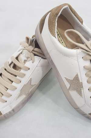 Sneakers pelle e camoscio oro glitterato