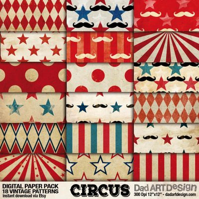 Vintage Circus 01 Digital Paper Patterns Pack