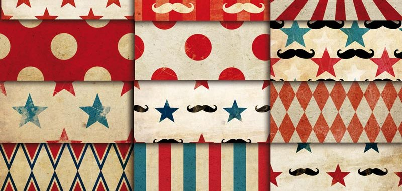 Vintage Circus 01 Digital Paper Patterns Pack