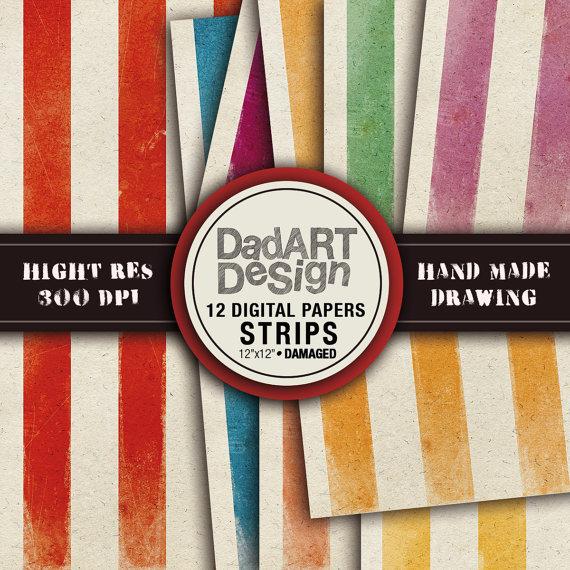Vintage strips patterns digital paper pack