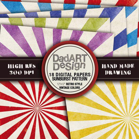 Vintage Sumburst Rays - patterns digital paper