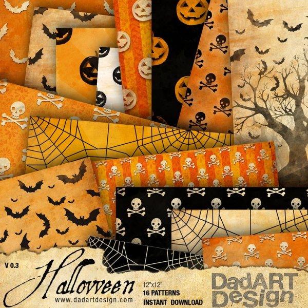 Halloween Vintage Pattern Digital Pape