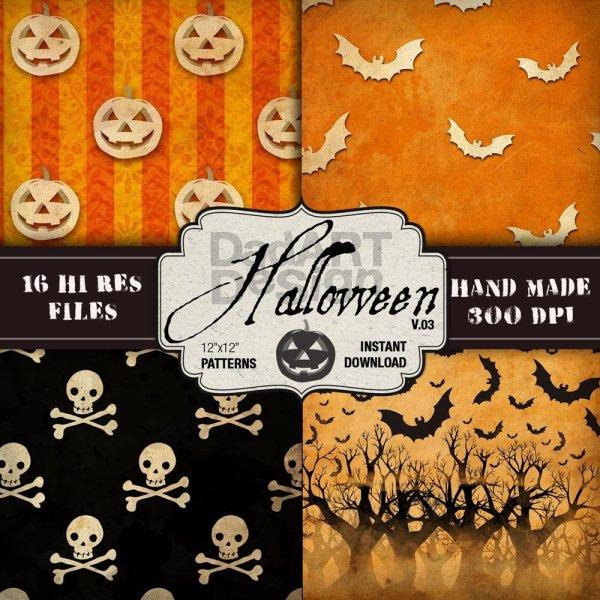 Halloween Vintage Pattern Digital Paper