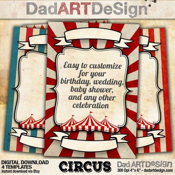 Circus - Vintage card customizable templates