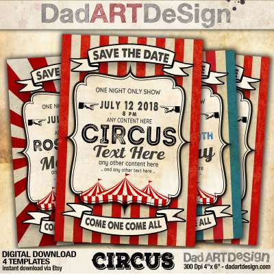 Circus - Vintage card customizable templates