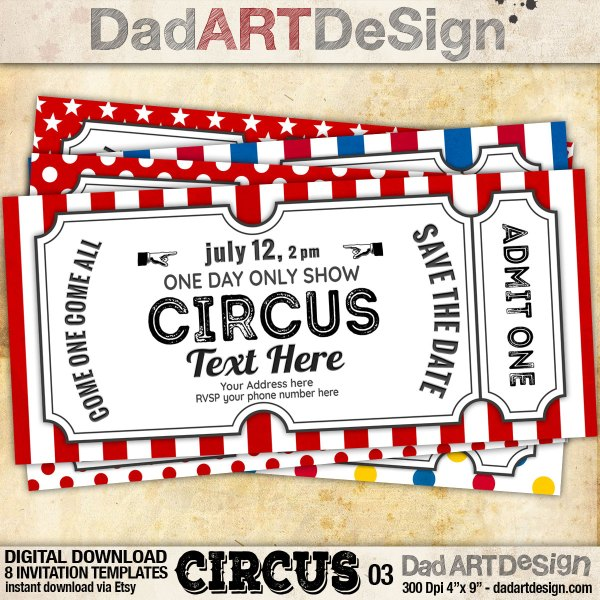 Circus 3! invitation template