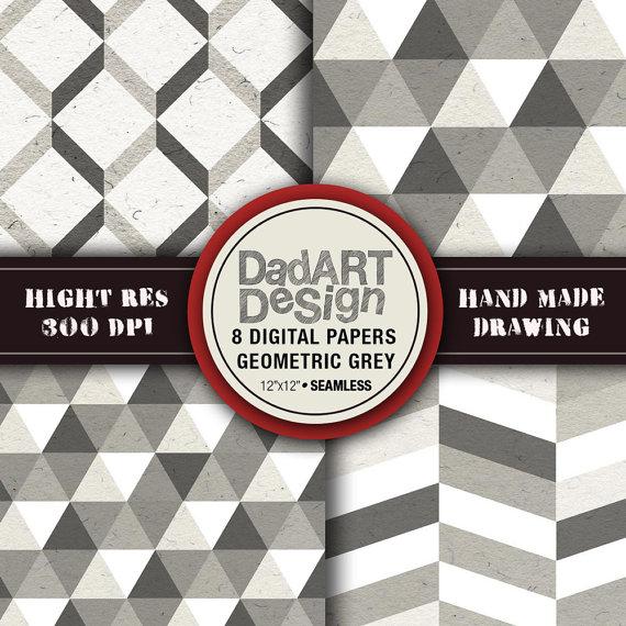 8 Geometric Grey Patterns