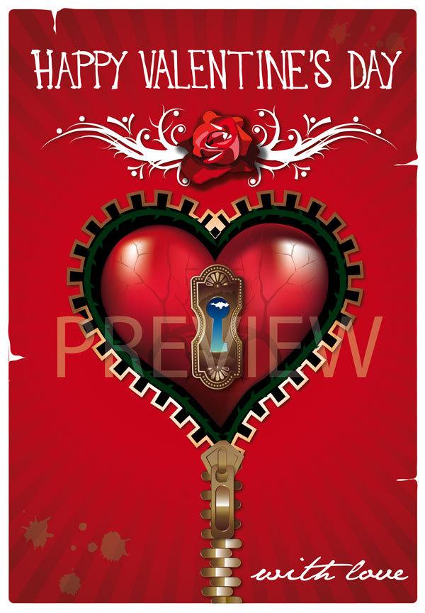Red Steampunk Valentine's day Card