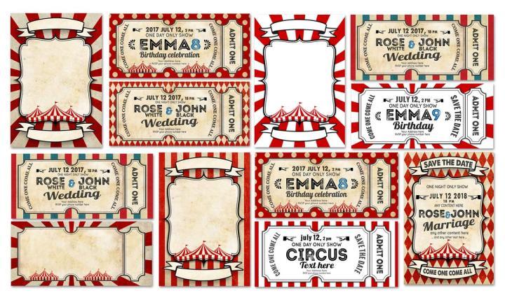 5 circus card templates
