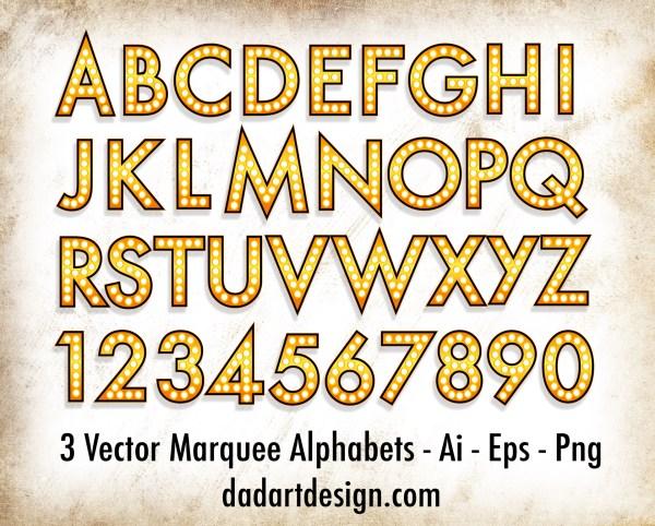Vintage Vector Marquee Alphabet