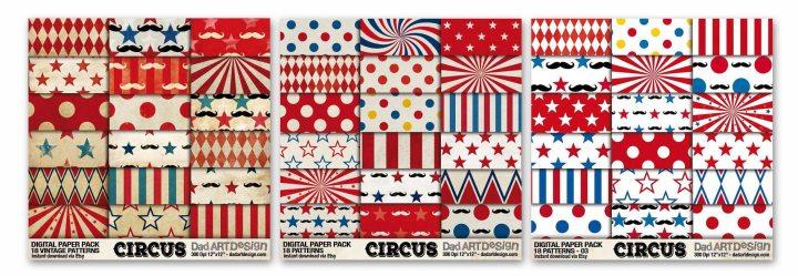 3 Circus Patterns digitalpaper package in bundle