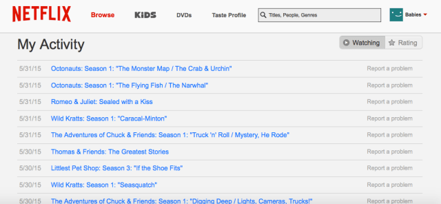 Netflix viewing list