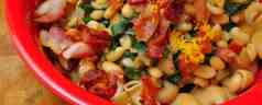Pressure Cooker Cannellini Beans, Bacon and Swiss Chard with Pasta