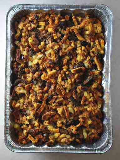 Rotisserie Pan Bread Stuffing with Apples and Cranberries