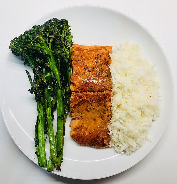 Honey Soy Salmon with Broccolini + Rice