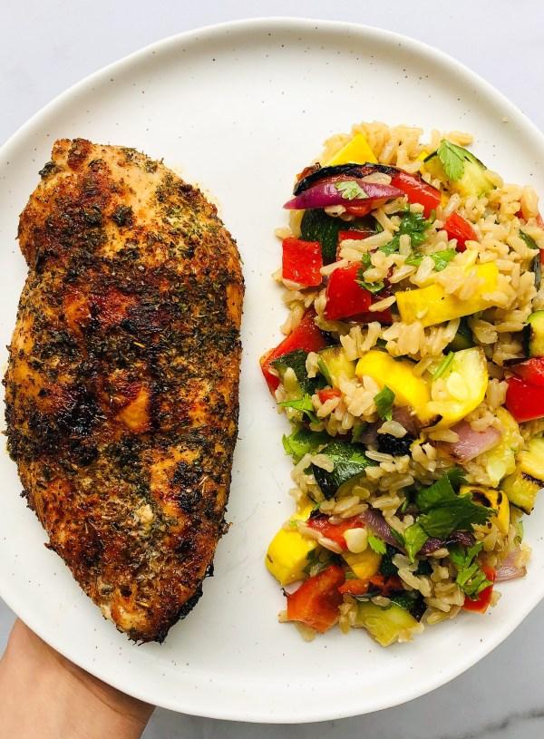 Grilled Chicken & Charred Veggie Rice