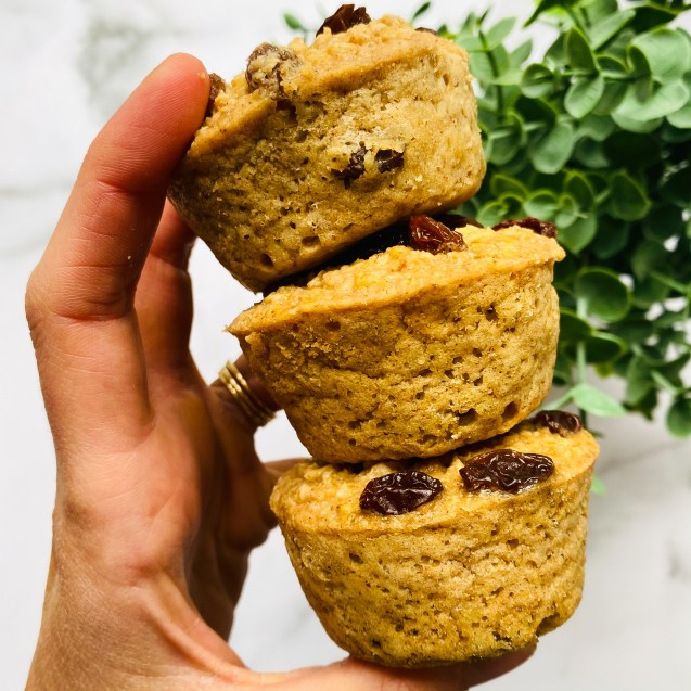 Close up shot of three cinnamon raisin baked oatmeal cups stacked on top of each other with a hand holding them in the air. A green plant to the right side and a white background.