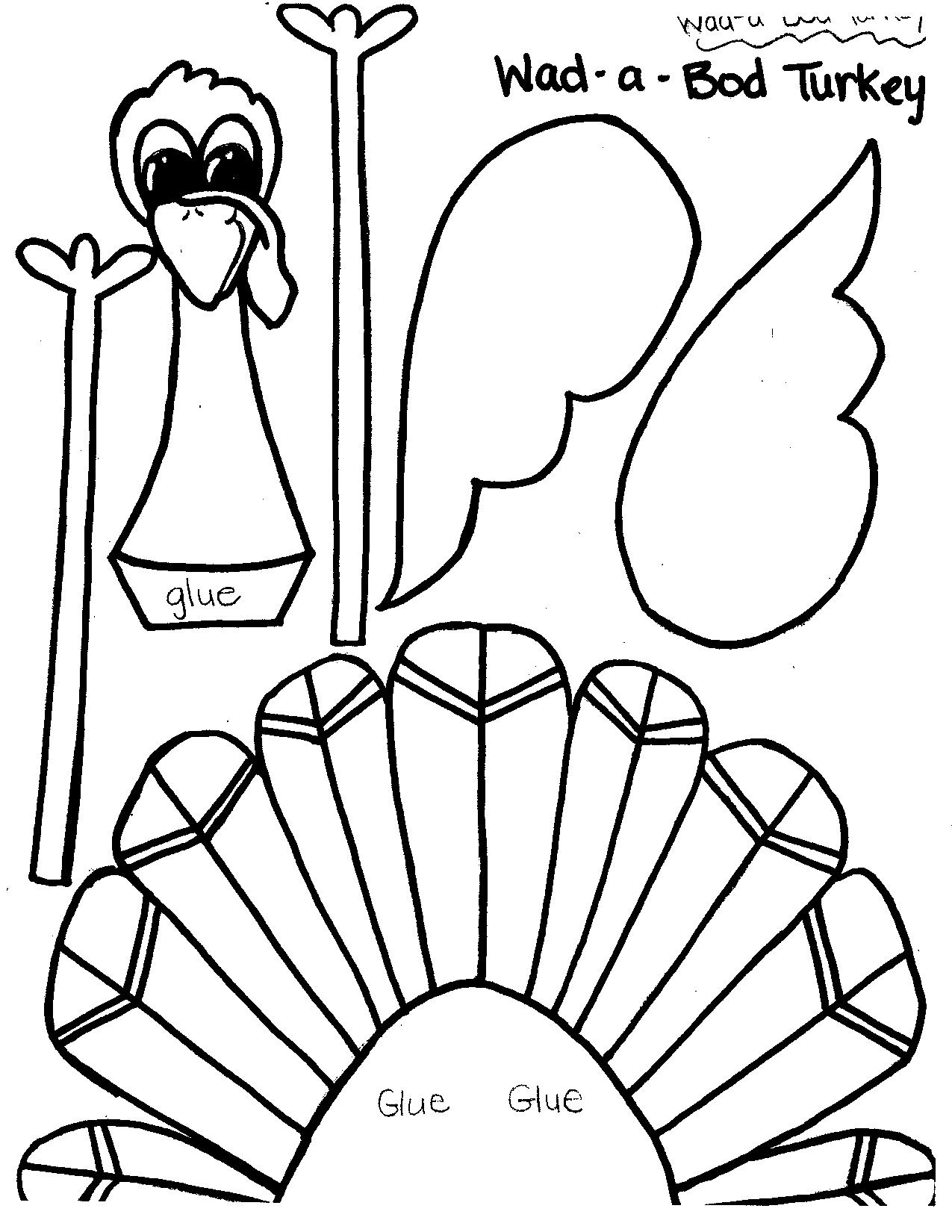Turkey Cut Out Printable Worksheet