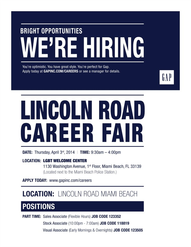 Gap Lincoln Road Career Fair April 3rd 2014 Lincoln Road Mall