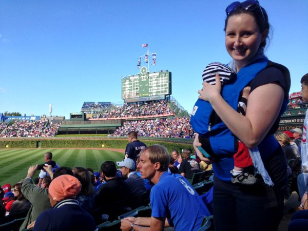 Sleeping Baby in Carrier At Wrigley