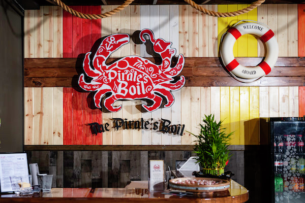 Entrance and host stand at The Pirate's Boil