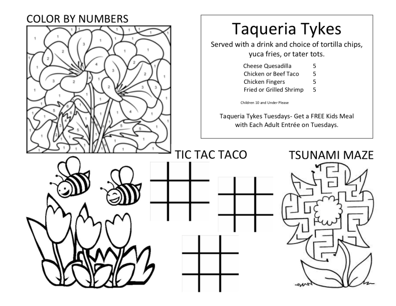 Kids menu and activities from Taqueria Tsunami