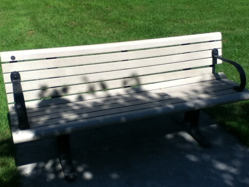 Close up image of a park bench