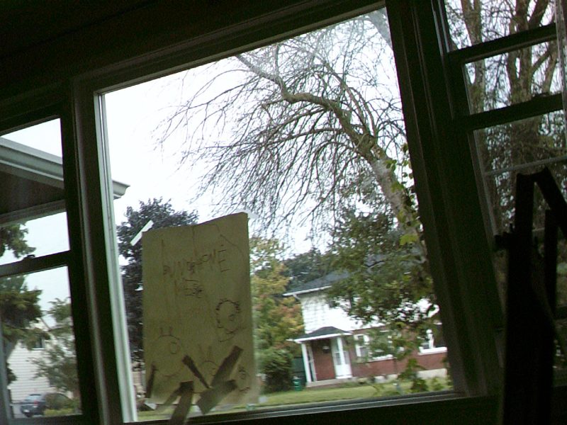 Image of a pin the tail on the bunny game attached to a window