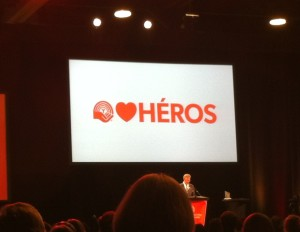 Image of a screen with the United Way Ottawa logo, a heart and the word heros