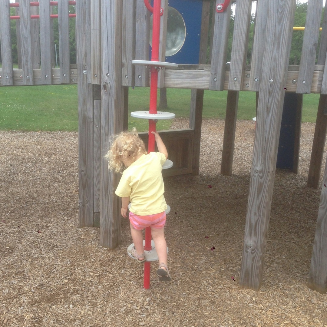 Image of a girl climbing a playground pole ladder