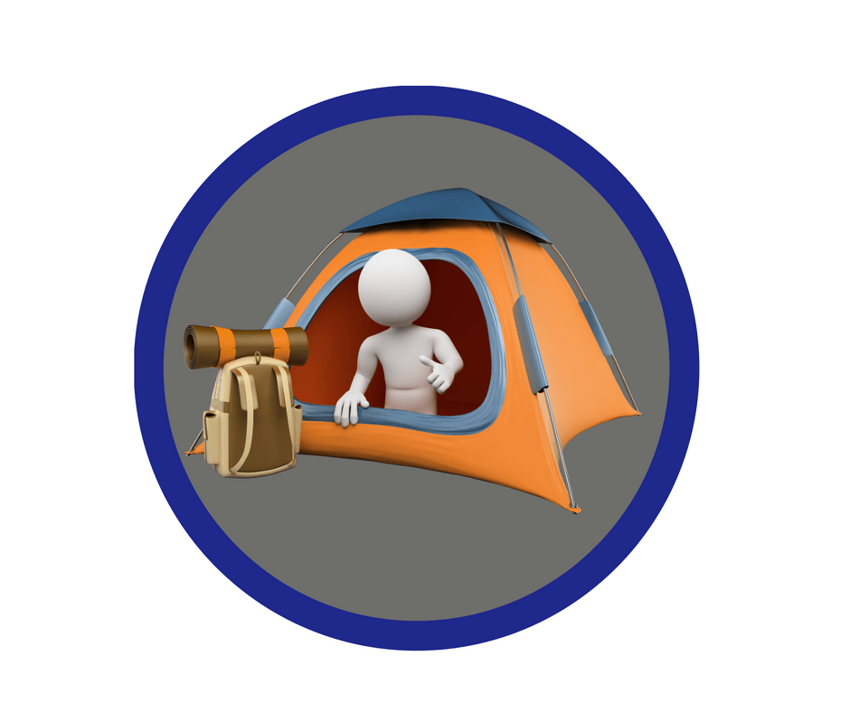 Image of a girl guide badge with a camper in a tent