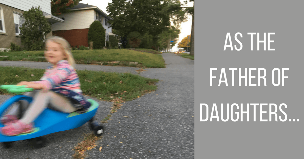 "Image of a girl riding a scooter with text ""As the father of daughters..."""