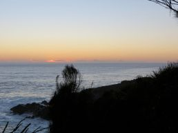glowing horizon, quiet sea