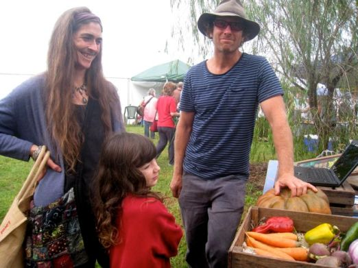 Organic grower Fraser with fellow grower and healer Kelly and her son Gus