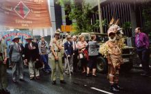 ANZAC march forming up, note representative from Papua New Guinea since 7th Div Cav were also stationed there