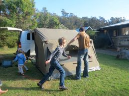 taking down the tent