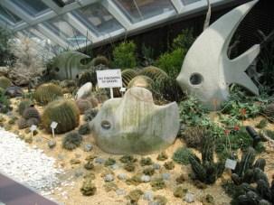 stone fish swim through the gardens