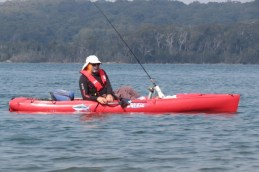 fisherman in his Hobie .. a pedal powered kayak